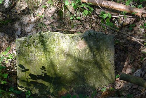 Až pomocí GPS navigace jsme se dostali na místní zajímavost, poslední torzo pomníku zbývalého židovského hřbitova (mapy tento hřbitov buď neuvádějí, nebo vyznačují okus jinde ... náhrobní kámen je ukryt vborové houštině)