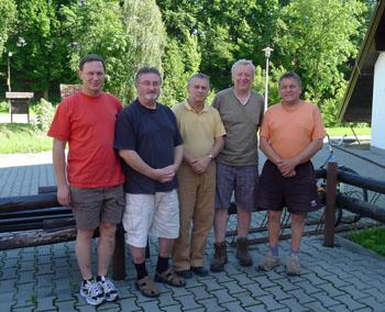 zleva: přítel L.Hřib, A.Vít, J.Landa, O.Jindřich apřítel K.Matůš