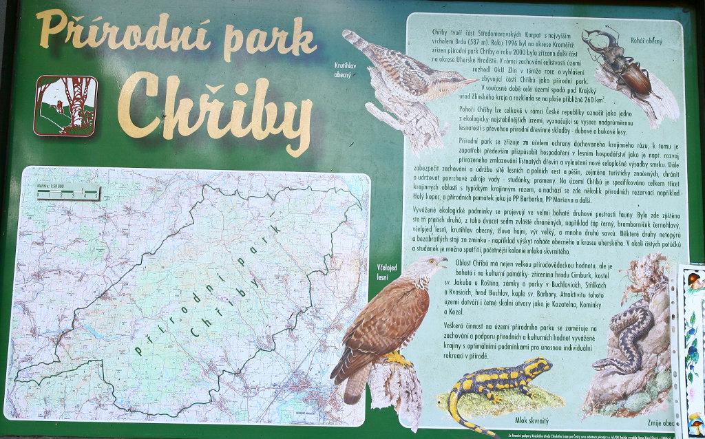 informační tabule přírodního parku Chřiby